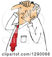 Clipart Of A Worried Chubby Senior Caucasian Businessman Grabbing His Head And Face Royalty Free Vector Illustration