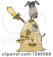 Clipart Of A Blindfolded Lady Justice Dog Holding A Sword And Scales Royalty Free Vector Illustration by djart