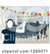 Clipart Of A Faceless Female Car Salesman In A Busy Show Room Royalty Free Vector Illustration