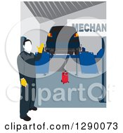 Clipart Of A Faceless Male Mechanic Presenting A Car Up On A Ramp Lift In A Repair Garage Royalty Free Vector Illustration by David Rey