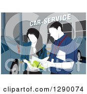 Clipart Of A Faceless Male Technician Taking Notes With A Woman At A Car Service Station Royalty Free Vector Illustration