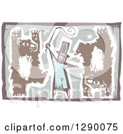 Woodcut Male Circus Ringmaster Holding A Whip While Bears Walk Upright And Do Handstands