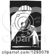 Clipart Of A Black And White Woodcut Male Islamic Astronomer Solving Math Equations In A Dark Room Royalty Free Vector Illustration