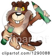 Clipart Of A Happy Walking Beaver Carrying A Broken Green Pencil Royalty Free Vector Illustration by dero