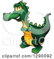 Clipart Of A Happy Green And Yellow Dinosaur Royalty Free Vector Illustration by dero