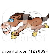 Happy Blue Eyed Brown Horse Running Fast