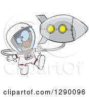 Cartoon Clipart Of An Excited White Astronaut Boy Floating By A Rocket In Outer Space Royalty Free Vector Illustration