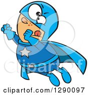 Cartoon Clipart Of A Chunky Caucasian Male Super Hero Flying Royalty Free Vector Illustration by toonaday
