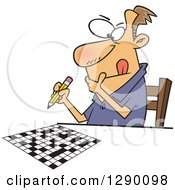 Cartoon Clipart Of A Focused Caucasian Man Working On A Crossword Puzzle Royalty Free Vector Illustration