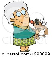 Cartoon Clipart Of A Happy Caucasian Granny Senior Woman Holding A Dog Royalty Free Vector Illustration by toonaday