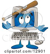 Clipart Picture Of A Desktop Computer Mascot Cartoon Character With A Baseball Bat Crashing Its Screen by Toons4Biz