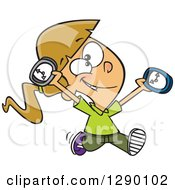Cartoon Clipart Of A Happy On Time Caucasian Girl Running With Clocks Royalty Free Vector Illustration by toonaday
