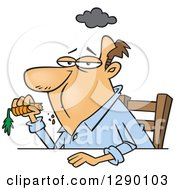 Cartoon Clipart Of An Unhappy Dieting Caucasian Man Eating A Carrot Royalty Free Vector Illustration