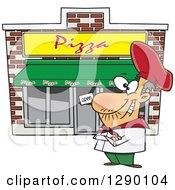 Cartoon Clipart Of A Proud Caucasian Male Pizza Restaurant Chef Royalty Free Vector Illustration by Ron Leishman