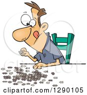 Cartoon Clipart Of A Focused Caucasian Man Working On A Jigsaw Puzzle Royalty Free Vector Illustration by toonaday