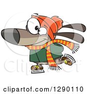 Cartoon Clipart Of A Happy Brown Dog Ice Skating Royalty Free Vector Illustration