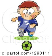 Cartoon Clipart Of A Focused Sporty Caucasian Boy Playing Soccer Royalty Free Vector Illustration by toonaday