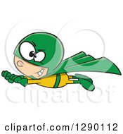 Cartoon Clipart Of A Caucasian Super Hero Boy In Flight In A Yellow And Green Suit Royalty Free Vector Illustration by toonaday