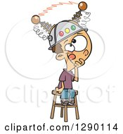 Cartoon Clipart Of A Caucasian Boy Sitting On A Stool With A Thinking Cap On Royalty Free Vector Illustration by toonaday