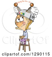 Caucasian Girl Sitting On A Stool With A Thinking Cap On