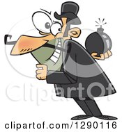 Cartoon Clipart Of A Caucasian Villainous Man Holding A Bomb Behind His Back Royalty Free Vector Illustration by toonaday