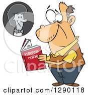 Cartoon Clipart Of A Sad Senior Caucasian Man Viewing His Portrait In His High School Yearbook Royalty Free Vector Illustration