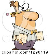 Cartoon Clipart Of A Caucasian Male Accountant Holding Folders With Pencils Behind His Ears Royalty Free Vector Illustration by toonaday