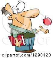 Cartoon Clipart Of A Happy Caucasian Male Teacher Playing With An Apple And Holding A Book Royalty Free Vector Illustration by toonaday