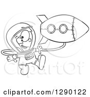 Cartoon Clipart Of A Black And White Excited Astronaut Boy Floating By A Rocket In Outer Space Royalty Free Vector Line Art Illustration by toonaday