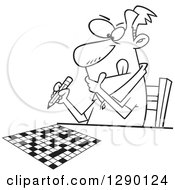 Cartoon Clipart Of A Black And White Focused Man Working On A Crossword Puzzle Royalty Free Vector Line Art Illustration