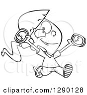 Cartoon Clipart Of A Black And White Happy On Time Girl Running With Clocks Royalty Free Vector Line Art Illustration by toonaday
