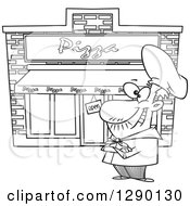 Cartoon Clipart Of A Black And White Proud Male Pizza Restaurant Chef Royalty Free Vector Line Art Illustration by Ron Leishman