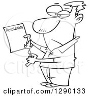 Cartoon Clipart Of A Black And White Man Burning His List Of Failed Resolutions Royalty Free Vector Line Art Illustration