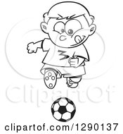 Cartoon Clipart Of A Black And White Focused Sporty Boy Playing Soccer Royalty Free Vector Line Art Illustration by toonaday