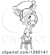 Cartoon Clipart Of A Black And White Boy Sitting On A Stool With A Thinking Cap On Royalty Free Vector Line Art Illustration by toonaday