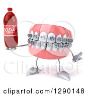 Clipart Of A 3d Metal Mouth Teeth Mascot With Braces Shrugging And Holding A Soda Bottle Royalty Free Illustration