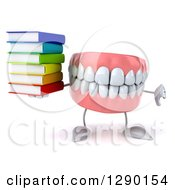 3d Mouth Teeth Mascot Holding A Thumb Down And A Stack Of Books