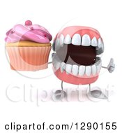 3d Mouth Teeth Mascot Holding A Thumb Up And A Pink Frosted Cupcake
