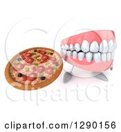 3d Mouth Teeth Mascot Holding Up A Pizza