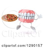 3d Mouth Teeth Mascot Jumping And Holding A Pizza