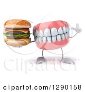 3d Mouth Teeth Mascot Holding Up A Finger And Holding A Double Cheeseburger
