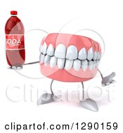 3d Mouth Teeth Mascot Shrugging And Holding A Soda Bottle