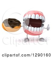 3d Mouth Teeth Mascot Holding A Thumb Up And A Chocolate Frosted Donut