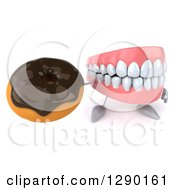 3d Mouth Teeth Mascot Holding Up And A Chocolate Frosted Donut