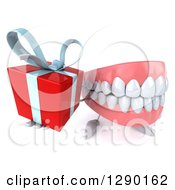 3d Mouth Teeth Mascot Holding Up A Gift