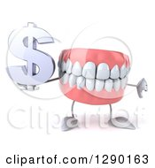 3d Mouth Teeth Mascot Holding A Thumb Down And Dollar Symbol