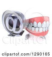 3d Mouth Teeth Mascot Holding Up An Email Arobase At Symbol