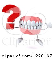 3d Mouth Teeth Mascot Jumping And Holding A Question Mark