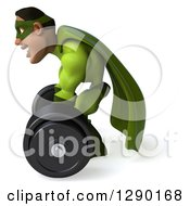 Clipart Of A 3d Male Black Super Hero In Green Facing Left And Lifting A Barbell 2 Royalty Free Illustration