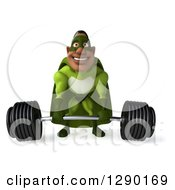 Clipart Of A 3d Male Black Super Hero In Green Lifting A Barbell 2 Royalty Free Illustration